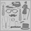 Stock Vector: Gentleman's style vintage elements set