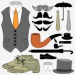 Stock Vector: Set of gentleman's accessories