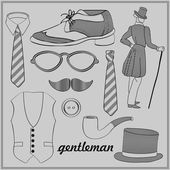 Gentleman's style vintage elements set — Stock Vector