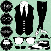 Set of various hipster style elements — Stock Vector