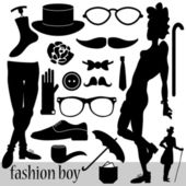 Fashion elements for boys set — Stock Vector