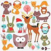 çeşitli sevimli hayvanlar kümesi — Stok Vektör