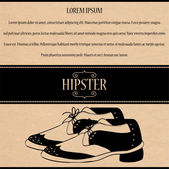Hipster card with beautiful male shoes — Stock Vector
