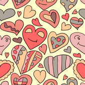 Romantic seamless pattern heart doodles — Vector de stock