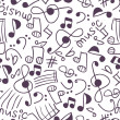 Seamless pattern with various music signs - Imagen vectorial
