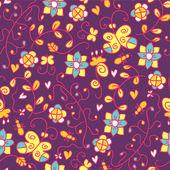 çiçekler ve kelebekler ile parlak seamless modeli — Stok Vektör
