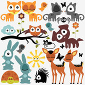 Set of various cute funny animals — Stock Vector
