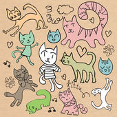 Set of cute hand drawn cats — Cтоковый вектор