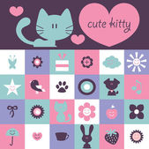 Scrapbook design cute kitty and various elements — Stock Vector