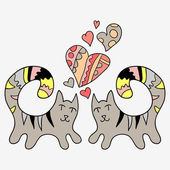 Two cute hand drawn cats in love — Stock Vector
