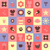Cute childish seamless pattern with various elements — Stock Vector