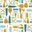 Seamless pattern with various toiletries - Stockvectorbeeld