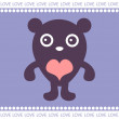 Romantic card with cute teddy - Imagen vectorial