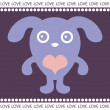 Romantic card with cute puppy — Stock Vector