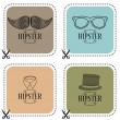 Set of four hipster cards — Stock Vector