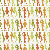 Seamless pattern with colorful silhouettes — Stock Vector