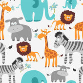 Cute seamless pattern with African animals — Stock Vector