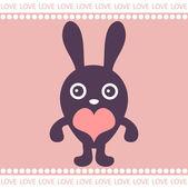 Romantic card with cute bunny — Stock Vector