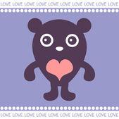 Romantic card with cute teddy — Stock Vector