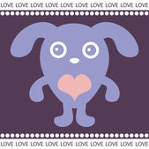 Romantic card with cute puppy — Stock vektor