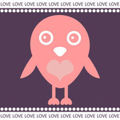 Sevimli kuş ile romantik kartı — Stok Vektör