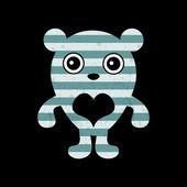 Carte romantique avec teddy mignon — Vecteur