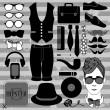 conjunto de diversos accesorios con estilo hipster — Vector de stock