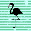 Stock Vector: Flamingo silhouette on stripey background