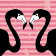 Two flamingos on stripey background — Stock Vector