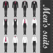 Set of various men's suits — Stockvektor