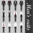 Stock Vector: Set of various men's suits