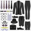 Stock Vector: Set of men's clothing and accessories