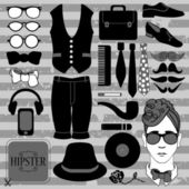 Set of various stylish hipster accessories — Stock Vector