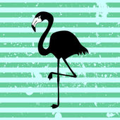 Flamingo silhouette on stripey background — Vector de stock