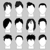 Set of various male haircuts — Stock Vector