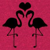 Romantik resimde iki flamingolar aşık — Stok Vektör