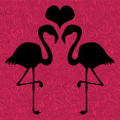 Romantic illustration two flamingos in love — Vector de stock