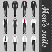 Set of various men's suits — Stock Vector