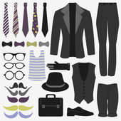 Set of men's clothing and accessories — Stock Vector