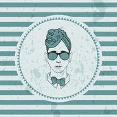Retro card with hipster boy's face — Stock Vector