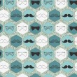 Stock Vector: Decorative seamless pattern with bow ties and mustaches
