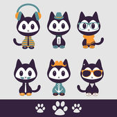 Set of various stylish kittens in clothes — Stock Vector