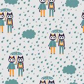 Modèle sans couture avec deux mignons chatons élégants sous égide — Vecteur