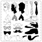 Hand drawn collection of gentleman's accessories — Stock Vector