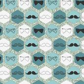 декоративный бесшовный фон с галстуки и усы — Cтоковый вектор