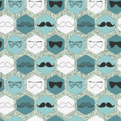 Decorative seamless pattern with bow ties and mustaches — Stock Vector