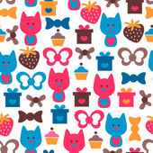 Colorful seamless pattern with cute cats — Stock Vector