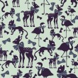 Seamless pattern with animal silhouettes — Stock Vector