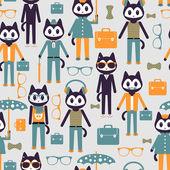 Seamless pattern with cute stylish kitties — Stock Vector