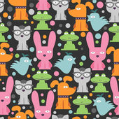 Colorful seamless pattern with funny animals — Stock Vector